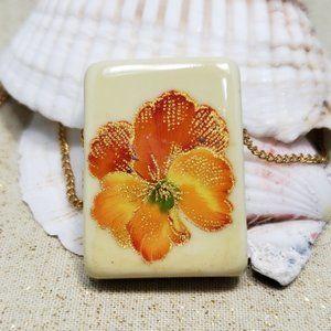 Vintage Japanese Ceramic Cloisonne-mimic Necklace